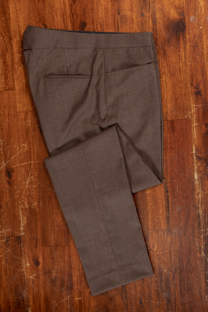 - Bespoke travelers trousers with jeans pocket and fishtail crease free hazel solid