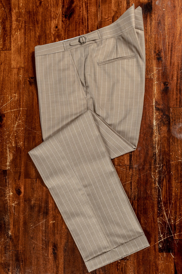 - Sand white pinstripe bespoke summer trousers