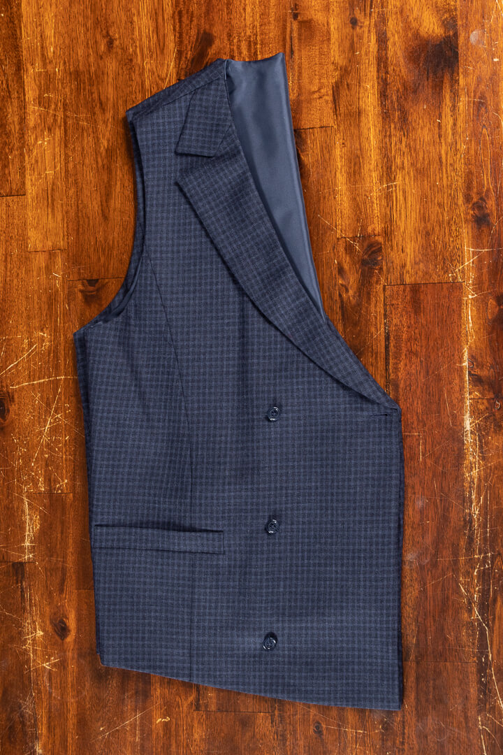 - Bespoke traveling double breasted waistcoat crease free navy shadow block plaid Dutch design