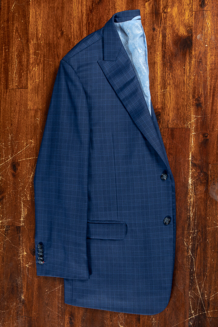 - Bespoke summer suit wool cashmere bright blue mock glen