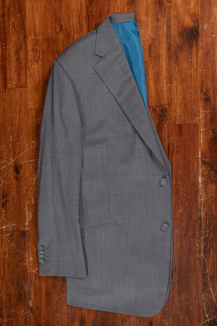 - Bespoke birdseye summer suit with extra pair of trousers petrol lining 280 grm