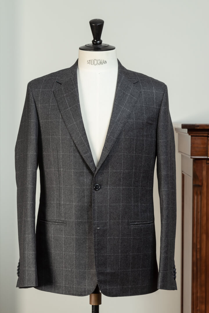 - Spalla Camicia Shirring 2-Piece Suit Jacket Italian Shoulder Flannel Dark Grey WIndowpane Twill