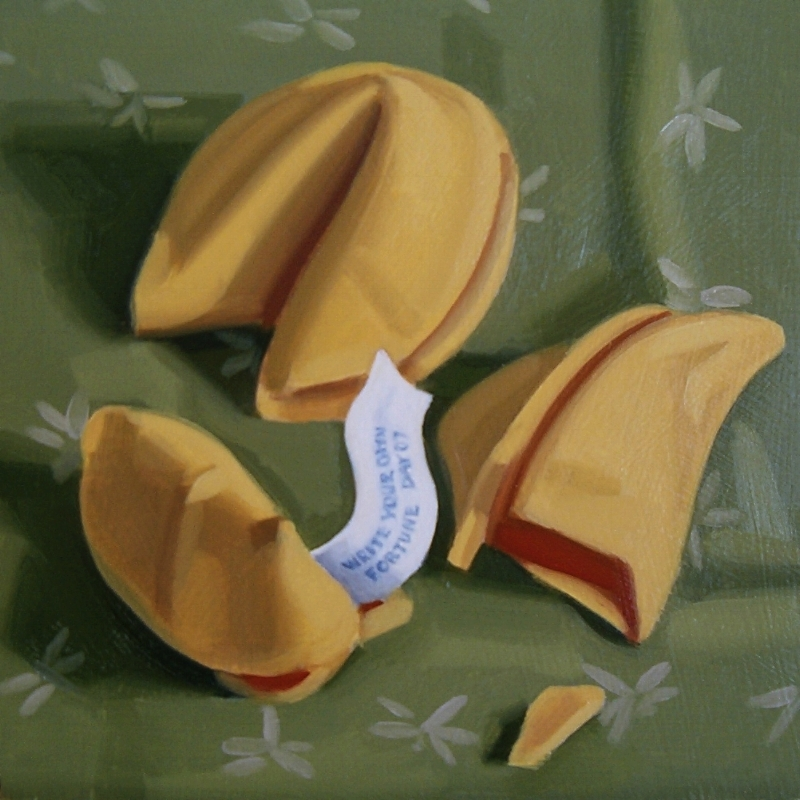 """Fortune Cookies , oil on panel, 6"""" X 6"""", 2017"""
