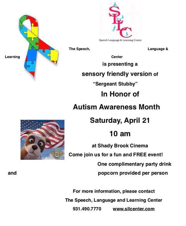 SAVE THE DATE!!! SLLC will be hosting a Sensory Friendly Movie at Shady Brook...make plans to join us!! #communityevent #autismawarenessmonth #mycolumbia #speechtherapy #occupationaltherapy #feedingtherapy