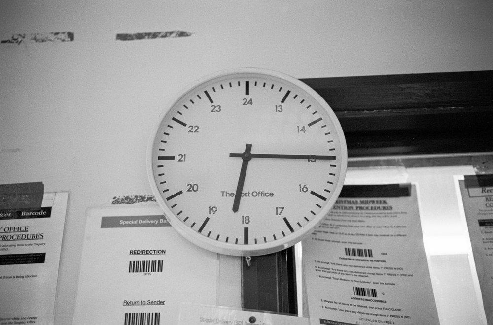 A clock at the Royal Mail