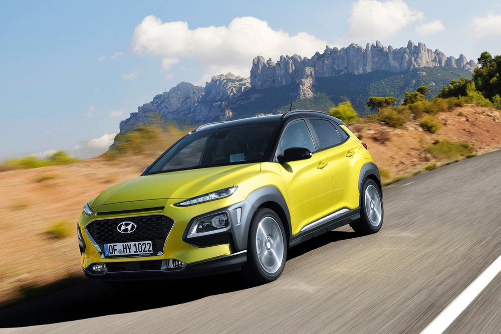 The Hyundai Kona goes over the top with bright colors and wraparound black cladding to assert its individuality