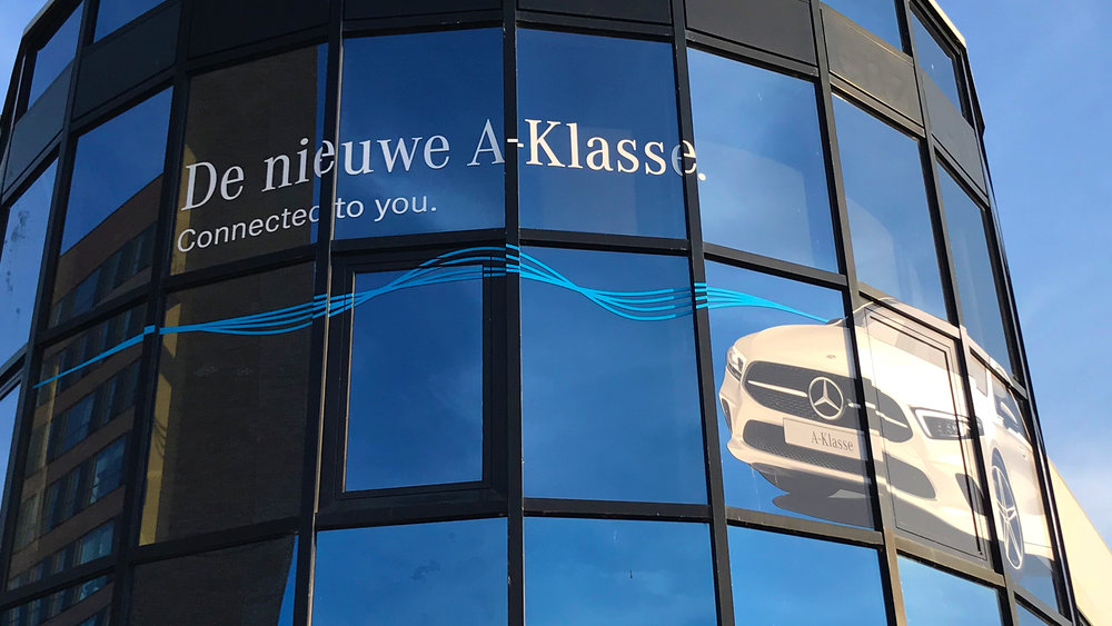 2018 A-Class dealership graphics use a wave pattern to communicate connectivity. We're bringing that to life with the new rev waves