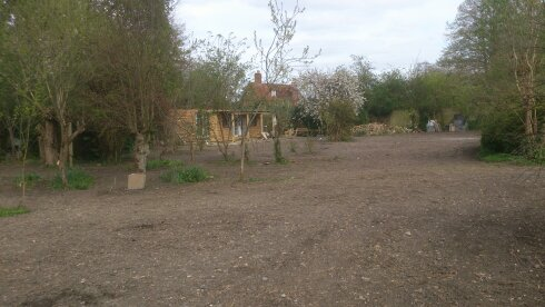 The area in front of the shed before being planted