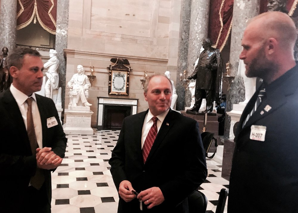 Nick Etten, Retired Navy Seal, Founder, Executive Director of the Veterans Cannabis Project (Left) and retired NFL Player Kyle Turley meet with Majority Whip Steve Scalise (R-LA) in Statuary Hall during TLG'S Kids, Veterans & Athletes Capitol Campaign.
