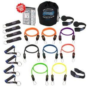 Elastic exercise bands for rehab, physical therapy and training.