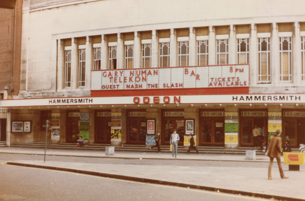 Michael Dent, Nash's sound man for two decades outside the infamous Hammersmith Odeon, London, during the Gary Numan UK tour, 1980.