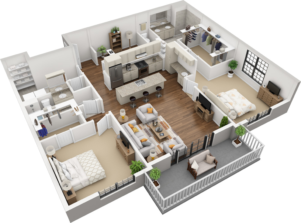 Unit C  - 2 Bed | 2 Bath 1588 - 1748 Sq. Ft. | Starting at $3,150