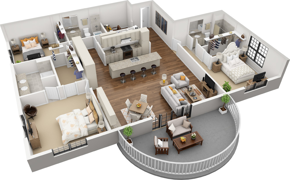Unit F - 3 Bed | 3 Bath1800-2200 Sq. Ft.Starting at $4,340.00