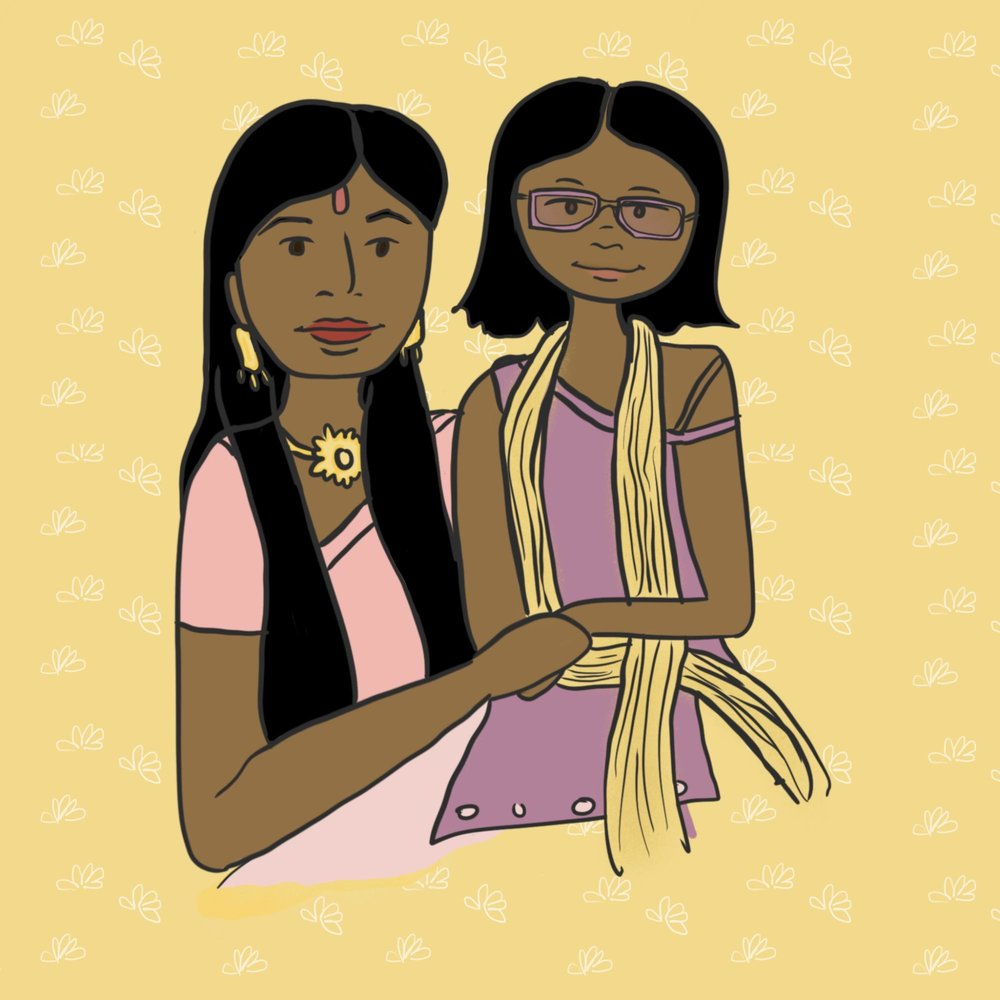 Illustration of Indian mother and daughter holding hands.