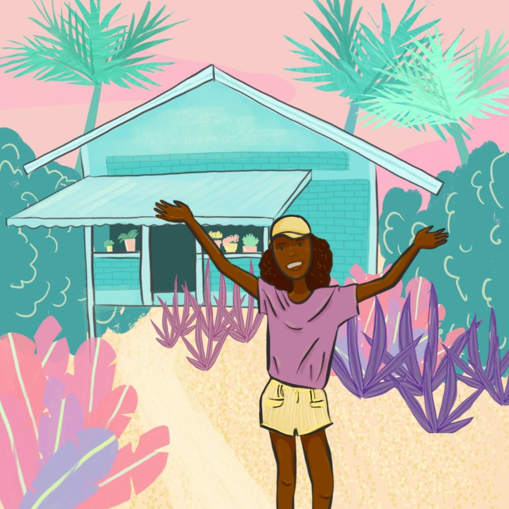 """Illustration of a Trinidadian woman raising her arms as if to say """"welcome"""" in front of a house."""