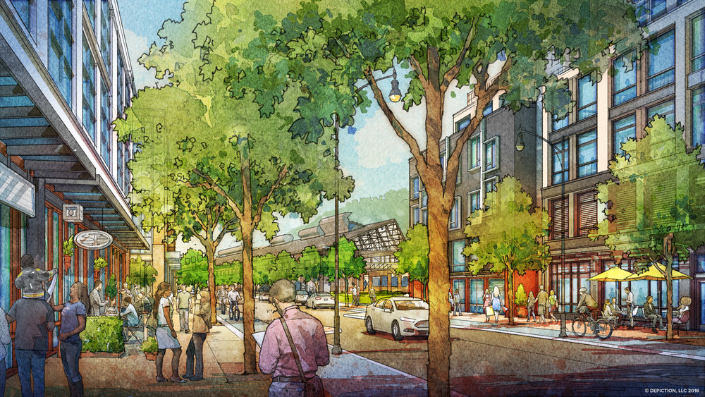 Illustration of Lytle Street in the Mill District. Copyright:  Depiction, LLC  2018.