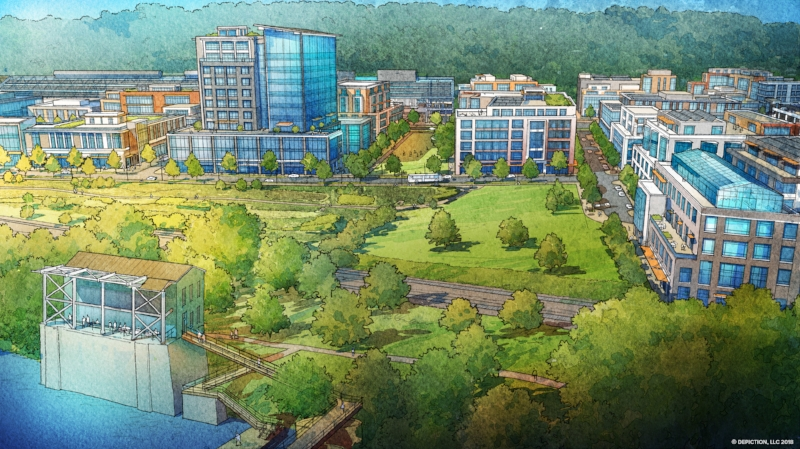 Illustration of the Mill District from the Monongahela River looking East towards Mill 19 and the Hazelwood Greenway, with the Pump House in the foreground. Copyright:  Depiction, LLC  2018.