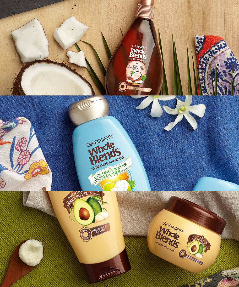 FIRST DIGITALPRODUCT photoSHOOT  - Setting the look and feel for Whole Blends product and ingredient photography, simple layouts, natural lighting, organic ingredients, and rich props set this brand apart from Garnier's full shampoo and conditioner offering.Not only was it the foundation for the launch, it was carried through to year 2 and became the benchmark for all other Garnier subbrands.