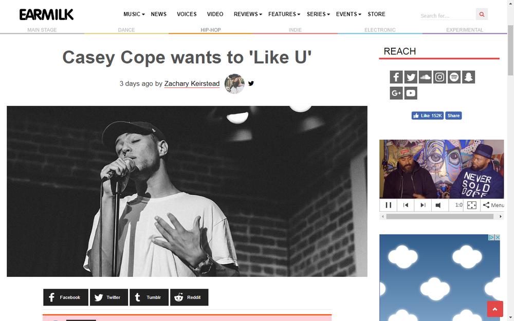 Earmilk Premieres Casey Cope 'Like U'