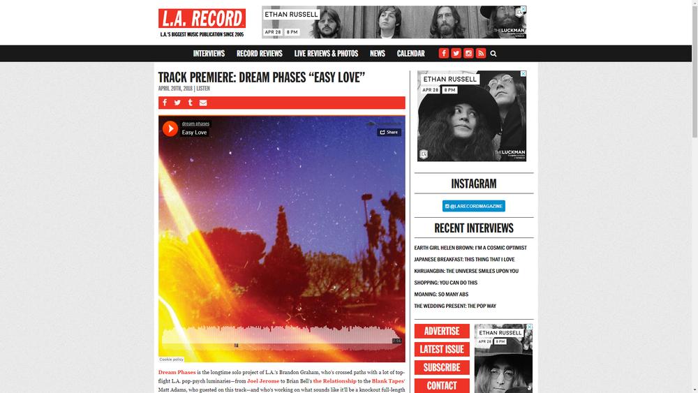 LA Record Premieres Dream Phase