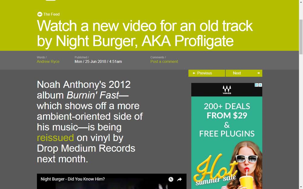 Resident Advisor Shares Video By Night Burger
