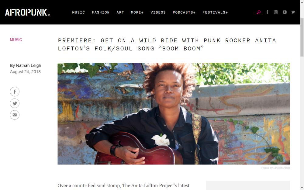 "Afropunk Premiers Anita Lofton Track ""Boom Boom"""