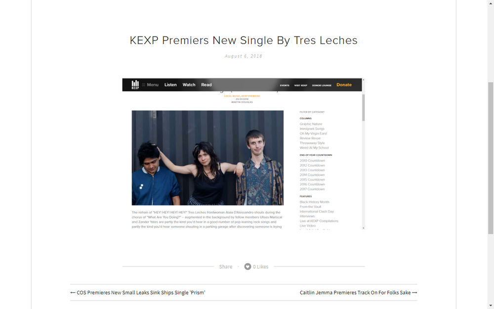 KEXP Premiers New Tres Leches Song