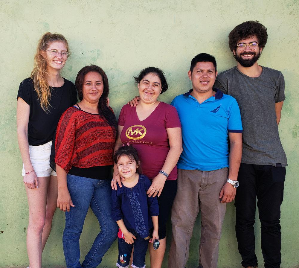 Melissa, Marysa, Kaory, Esmeralda, Anderson, and Robert outside their work space in Concepción Quezaltepeque.