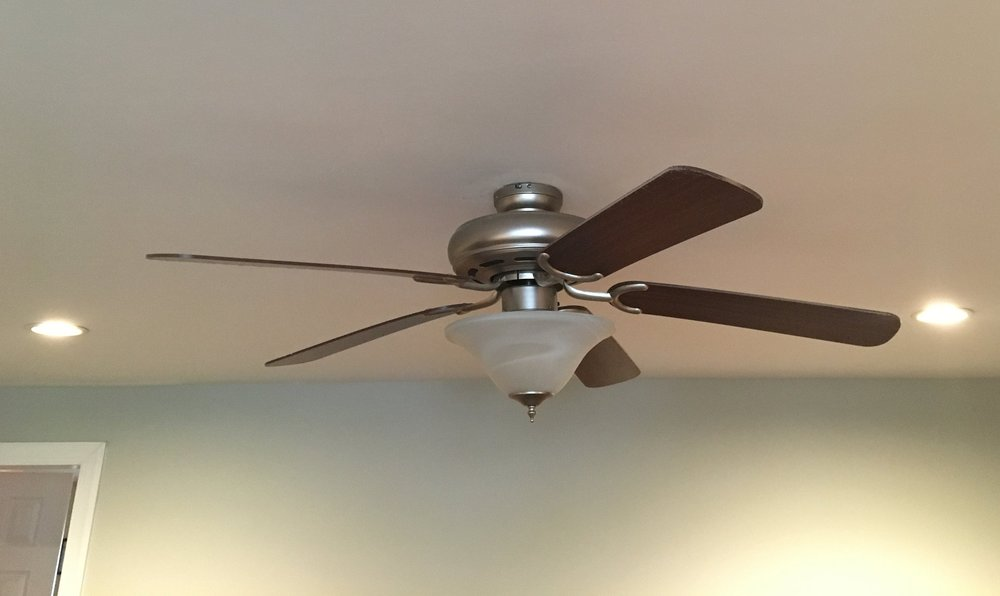 ceiling fan and recessed lighting