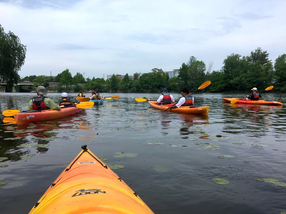 Paddling up the Mystic River