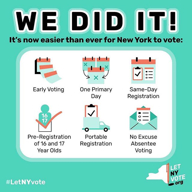 🎉 Get excited NY, change is here! 🎉 . For years, we've been beating the drum that New York consistently ranks in the bottom ten states for turnout and has been suppressing the vote for years to protect incumbents from competition (link in bio). Huge props to our friends of the @letnyvote coalition, @commoncauseny and countless others for getting us real voting reform last night. . DM us if you have questions for what this means, but basically, we're joining other progressive states in letting you register at the same time as you vote, cast your vote early since you could be busy, and have one single primary day rather than scatter them through the year to confuse you. . Bonus: No more videos of me telling you to THIS IS THE LAST DAY TO REGISTER for xyz Election!