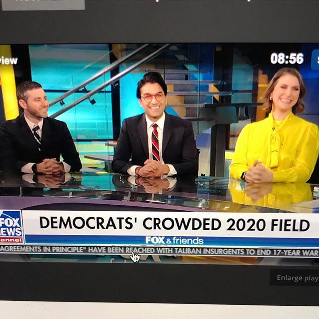 Crowded field or not, Democrats win when we put the people over powerful corporations. We deserve to lose if we forget that. . It was a real pleasure to join @emtsuss & @nathanhrubin to break a @foxnews record for number of Dems in the building at one time!