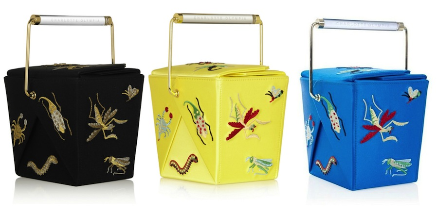 Shoulder bags inspired by Chinese food cartons by Charlotte Olympia