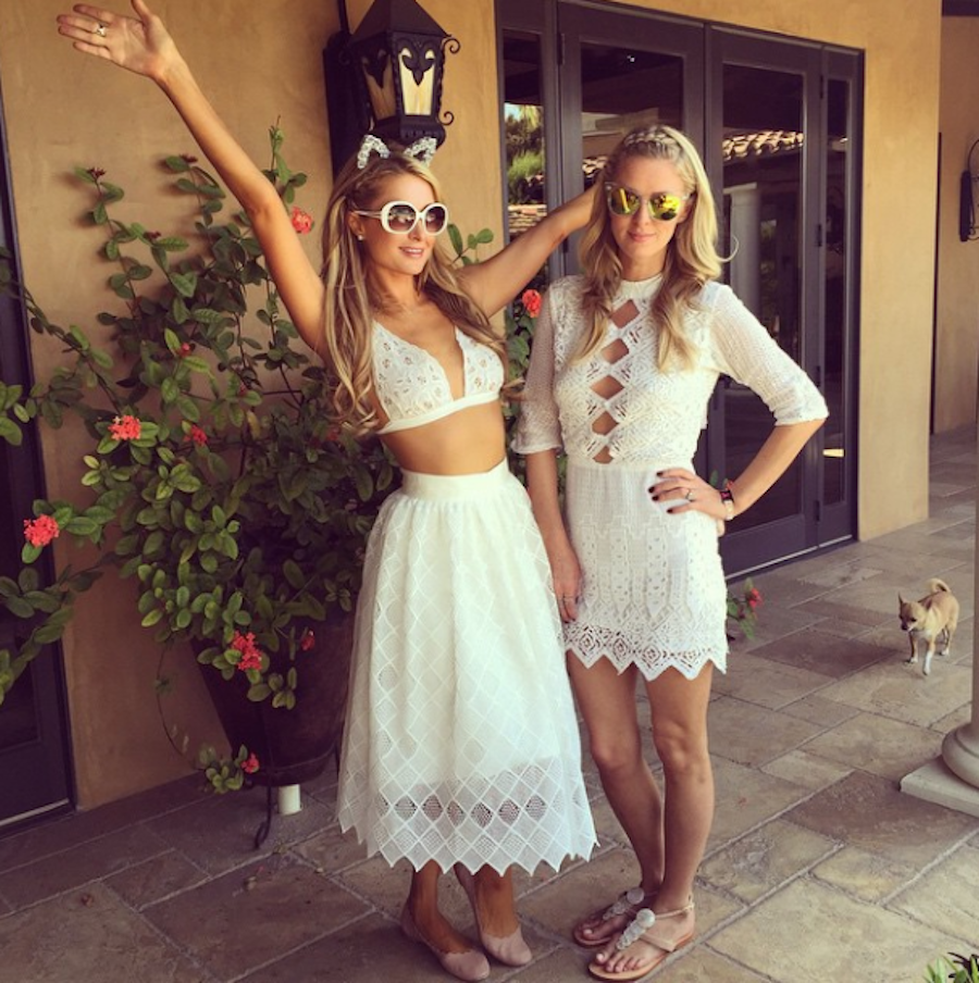 #CoachellaSisters Paris and Nicky Hilton had the right idea.