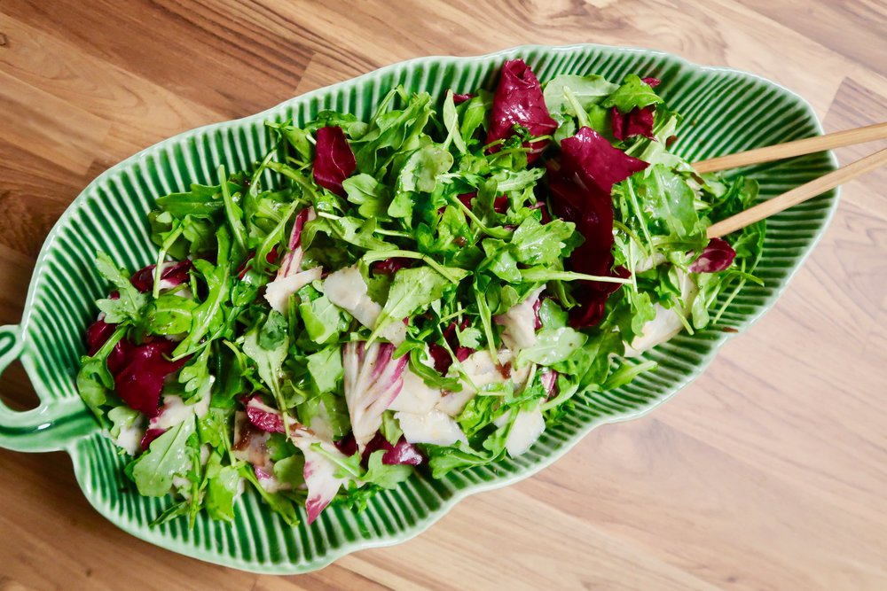 Arugula and Raddicio Salad with Crispy Shallots