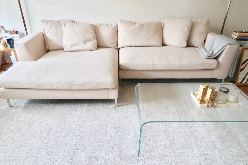 My  Hugo Sectional  and  Glass Coffee Table