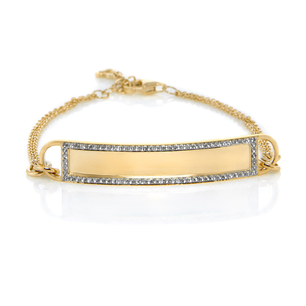 14K Yellow Gold, Shiny Finish, Diamonds