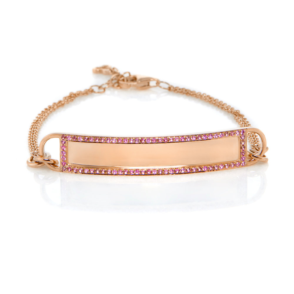 14K Rose Gold, Shiny Finish, Pink Sapphires