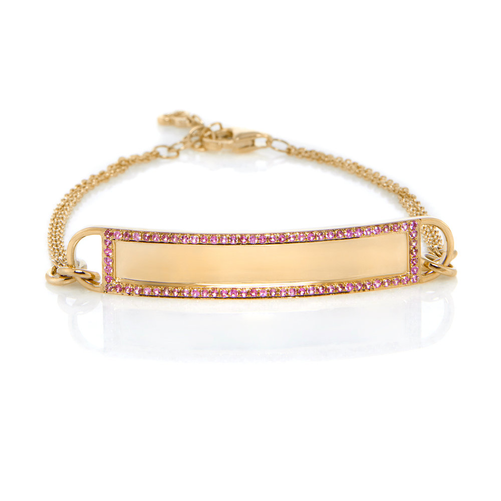 14K Yellow Gold, Shiny Finish, Pink Sapphires