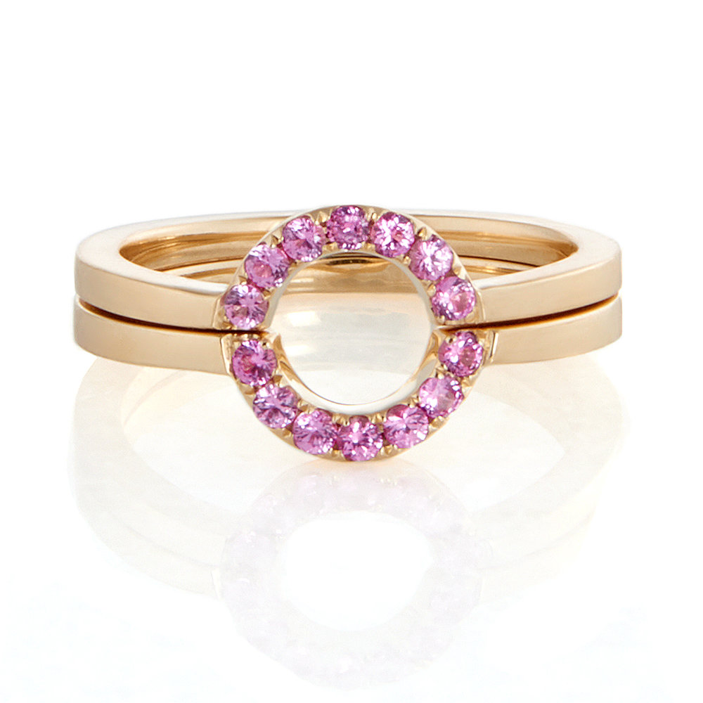 18K Yellow Gold, Pink Sapphires