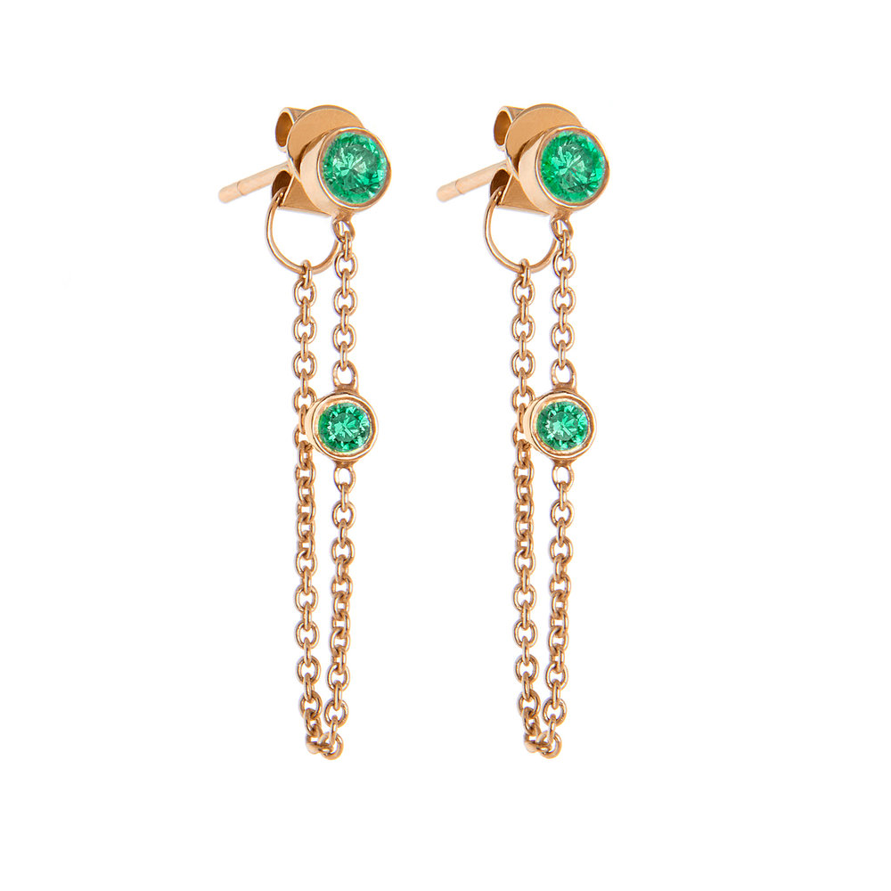 14K Rose Gold, Emeralds