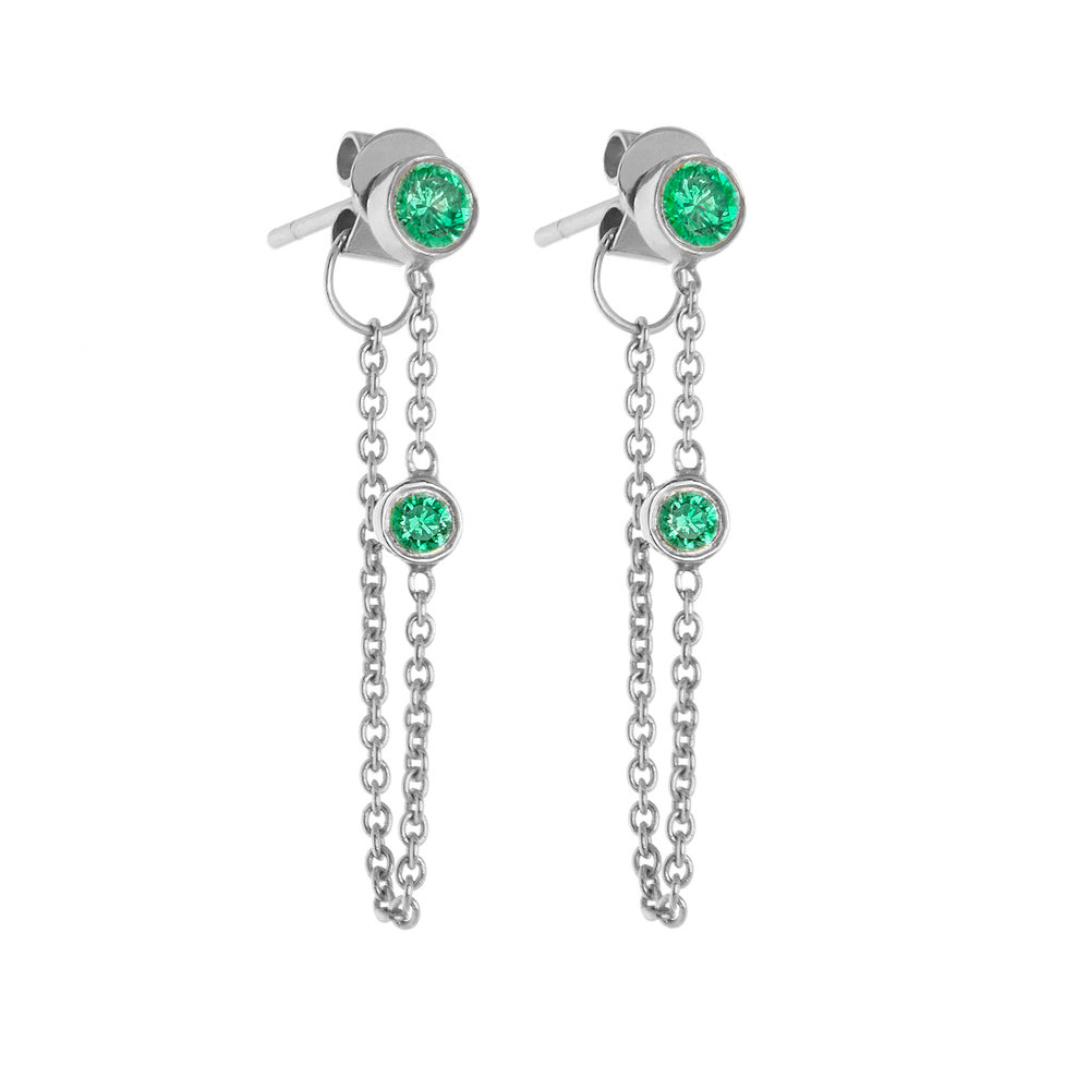14K White Gold, Emeralds