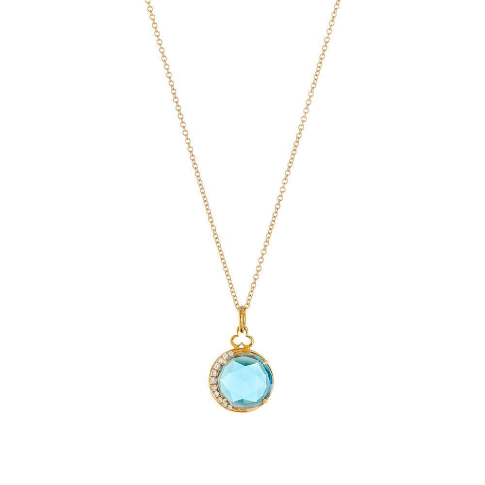 18K Yellow Gold, London Blue Topaz