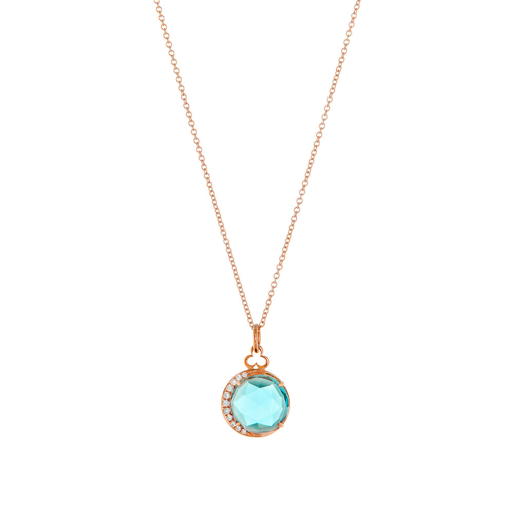 18K Rose Gold, London Blue Topaz