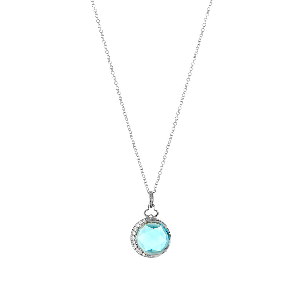 18K White Gold, London Blue Topaz