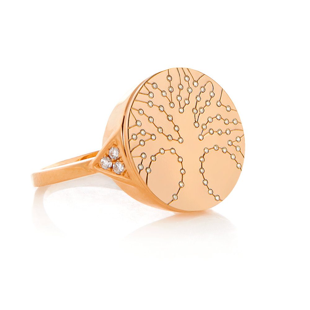 Tree of Life, 18K Rose Gold, Shiny Finish