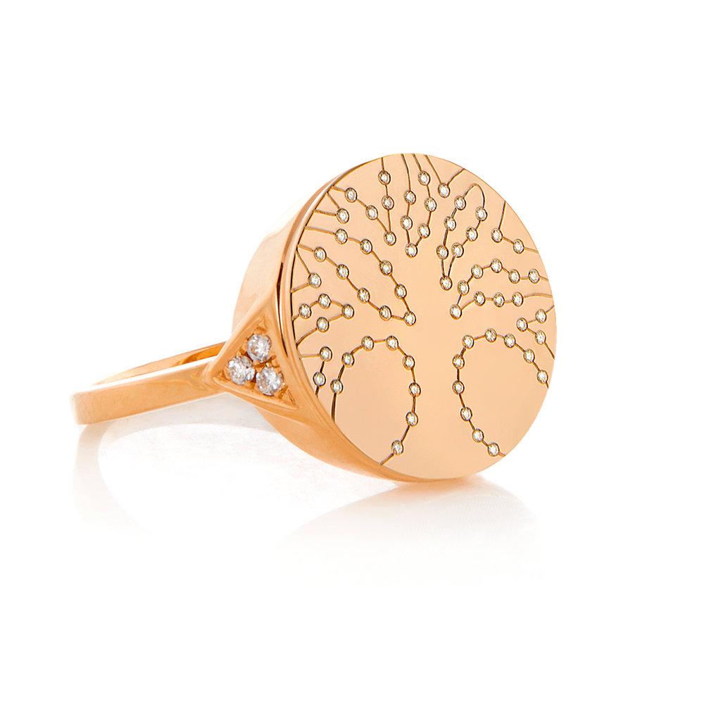 Tree of Life, 18K Rose Gold, Shiny Finish