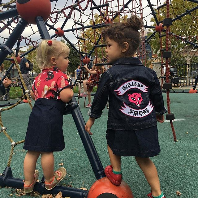 Rebel girl, rebel girl. Rebel girl, you are the queen of my world.  Head out the door in your toughest girl style. The Rebel Girl set: Somerset Shirtwaist, Embroidered Levi's Trucker Jacket, Girls Up Front Bookbag, plus temporary tattoo and button set.  1.5 hours left! Hurry!
