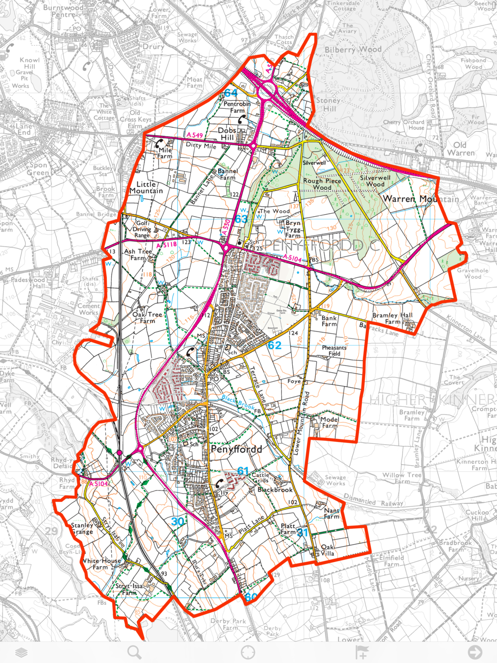 This is the area covered by the Penyffordd Ward