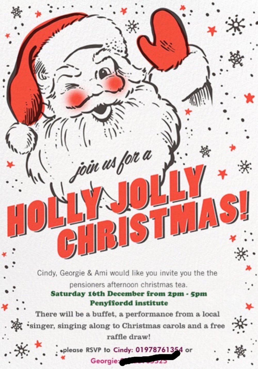 Holly Jolly Christmas - Pensioners Tea — Penyffordd Community Council